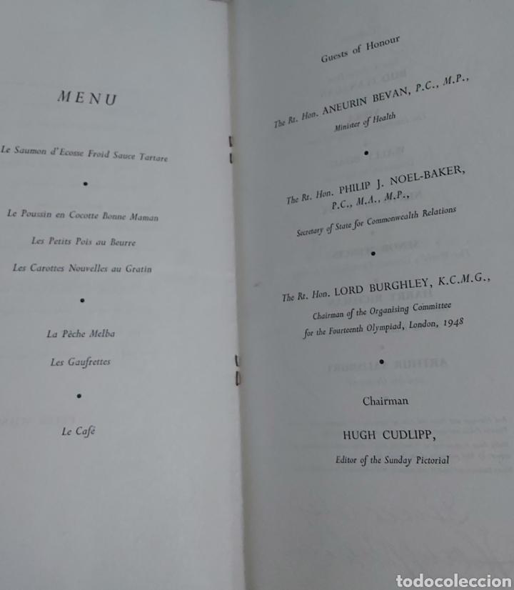Coleccionismo Papel Varios: INVITACION SUNDAY PICTORIAL/MIRROR OLIMPIADAS 1948. FIRMA PHILIP NOEL BAKER. BURGHLEY. HUGH CUDLIPP - Foto 7 - 241995185