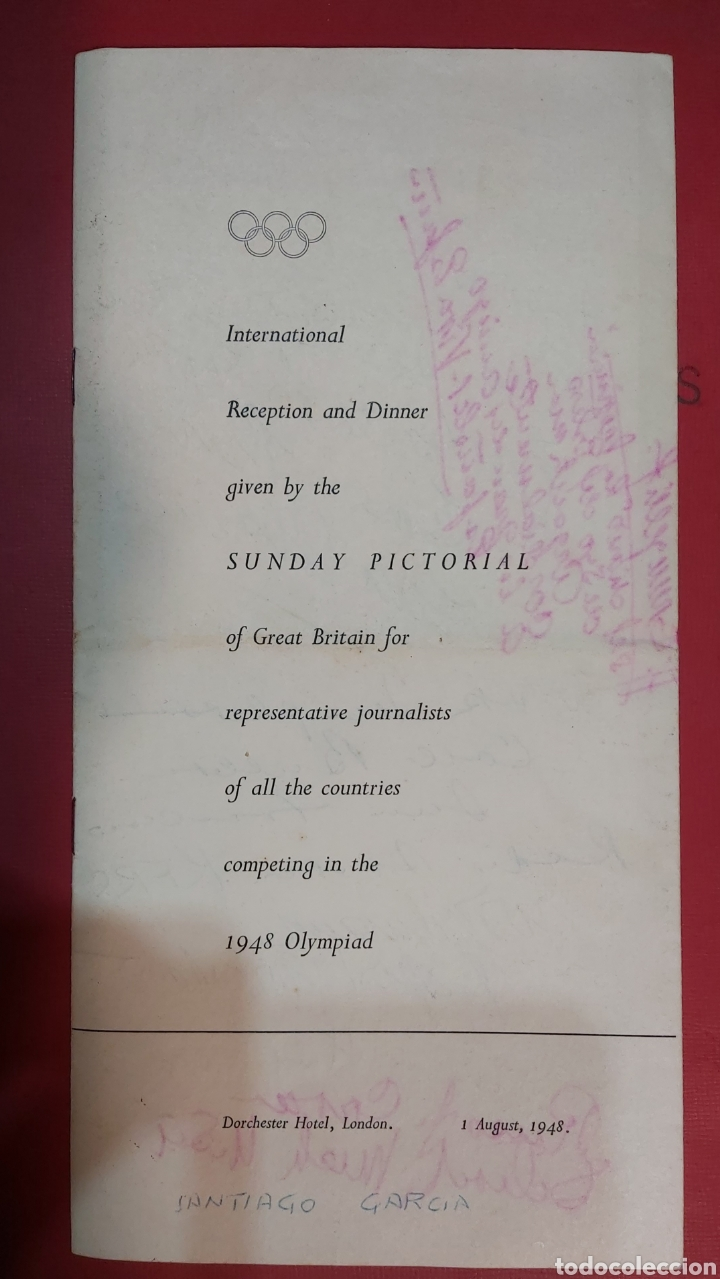 INVITACION SUNDAY PICTORIAL/MIRROR OLIMPIADAS 1948. FIRMA PHILIP NOEL BAKER. BURGHLEY. HUGH CUDLIPP (Coleccionismo en Papel - Varios)