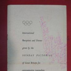 Coleccionismo Papel Varios: INVITACION SUNDAY PICTORIAL/MIRROR OLIMPIADAS 1948. FIRMA PHILIP NOEL BAKER. BURGHLEY. HUGH CUDLIPP. Lote 241995185