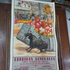 Coleccionismo Papel Varios: CARTEL DE TOROS BILBAO 1954. Lote 243871310