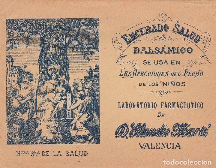 PARCHE ENCERADO SALUD - BALSAMICO - AFECCIONES PECHO NIÑOS LABOR CLAUDIO MARTI - VALENCIA -VER FOTOS (Coleccionismo en Papel - Varios)