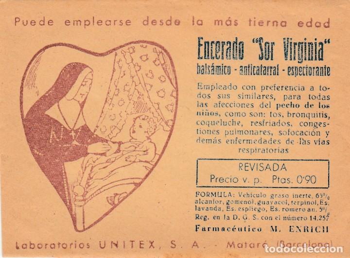 PARCHE ENCERADO SOR VIRGINIA - BALSAMICO ANTICATARRAL LABO UNITEX MATARO - FARMCO M ENRICH VER FOTOS (Coleccionismo en Papel - Varios)