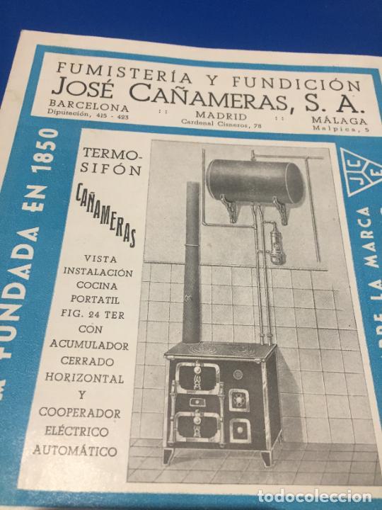 Coleccionismo Papel Varios: Antiguos folleto / prospecto de Fumistería y fundición José Cañameras S.A. años 20-30 Barcelona - Foto 2 - 244449125