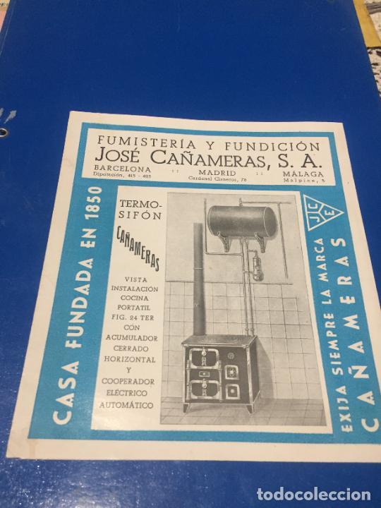 ANTIGUOS FOLLETO / PROSPECTO DE FUMISTERÍA Y FUNDICIÓN JOSÉ CAÑAMERAS S.A. AÑOS 20-30 BARCELONA (Coleccionismo en Papel - Varios)