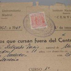 Coleccionismo Papel Varios: INSTITUTO NACIONAL DE ENSEÑANZA MEDIA CERVANTES DISTRITO UNIVERSITARIO DE MADRID AÑO 1943. Lote 244647180