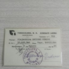 Coleccionismo Papel Varios: TARJETA CARNET DE TABACALERA S.A. ECONOMATO LABORAL BARCELONA 1985. Lote 244698570