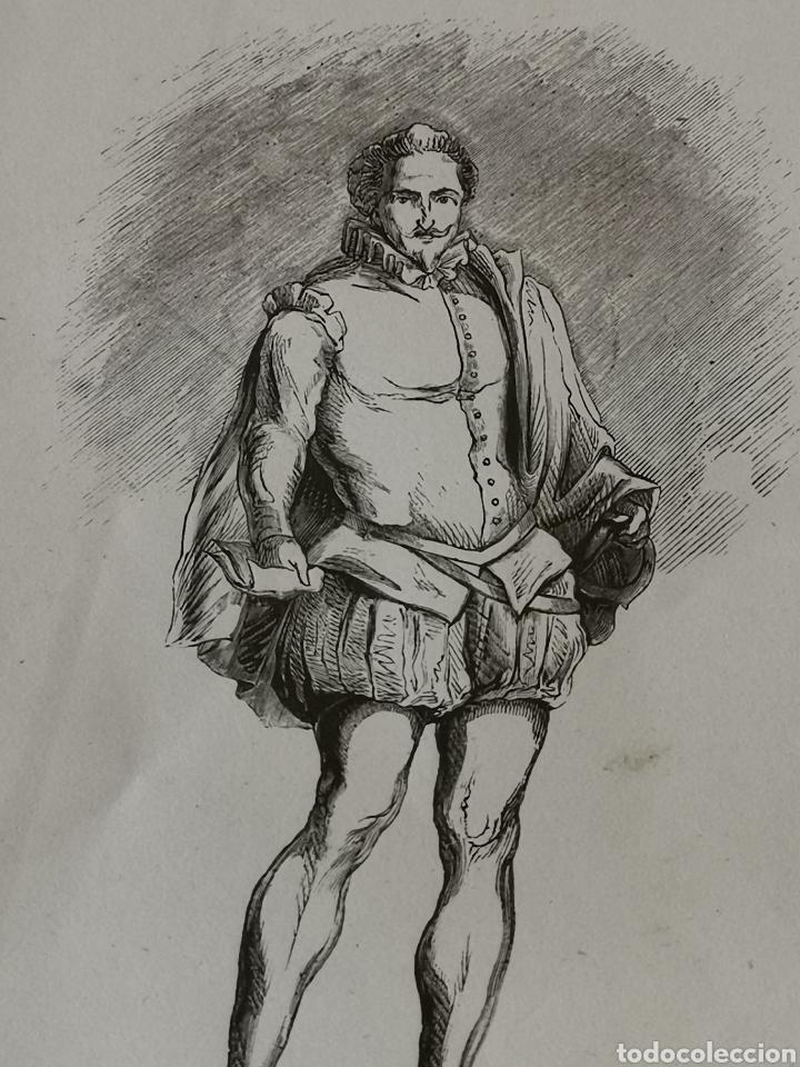 Coleccionismo Papel Varios: Dibujo impreso de Cervantes s. XIX Martínez del S.C. - Foto 2 - 244862470