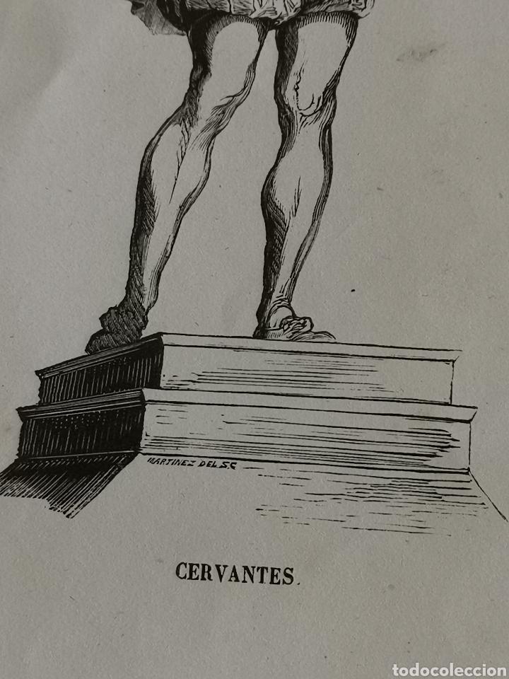 Coleccionismo Papel Varios: Dibujo impreso de Cervantes s. XIX Martínez del S.C. - Foto 3 - 244862470