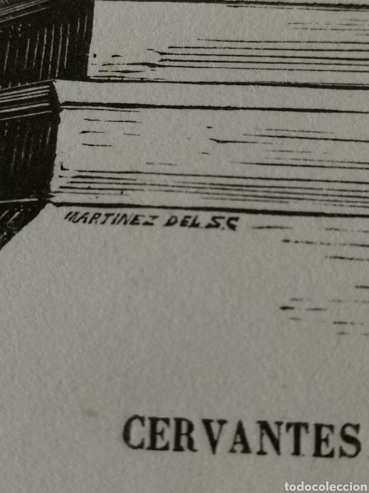 Coleccionismo Papel Varios: Dibujo impreso de Cervantes s. XIX Martínez del S.C. - Foto 4 - 244862470