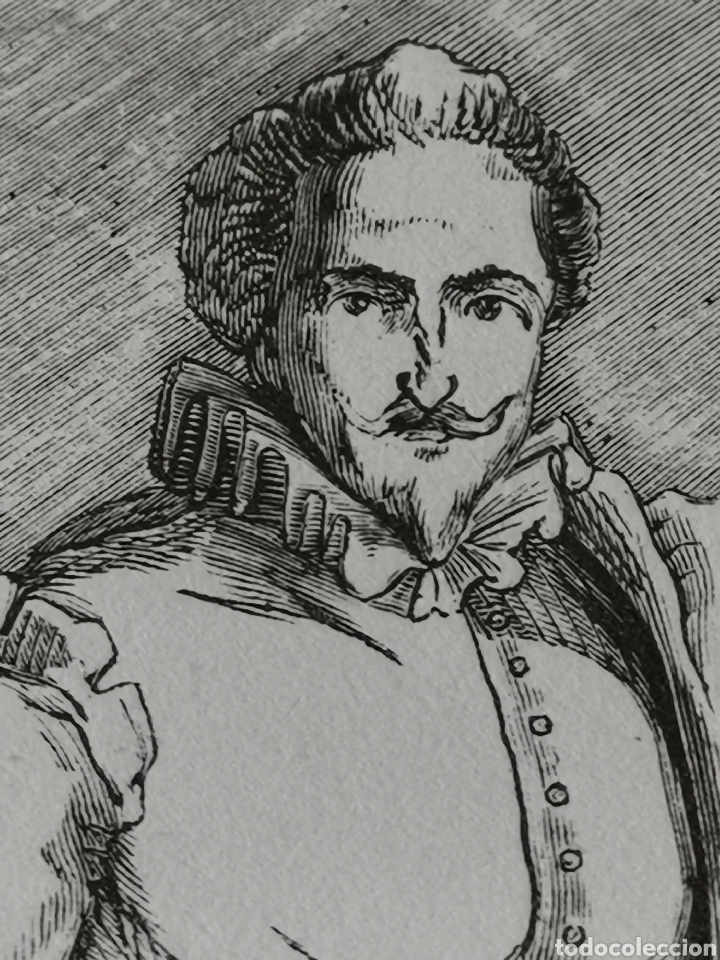 Coleccionismo Papel Varios: Dibujo impreso de Cervantes s. XIX Martínez del S.C. - Foto 6 - 244862470