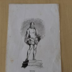 Coleccionismo Papel Varios: DIBUJO IMPRESO DE CERVANTES S. XIX MARTÍNEZ DEL S.C.. Lote 244862470