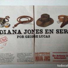 Coleccionismo Papel Varios: RECORTE REVISTA ESTRENO INDIANA JONES EN TV - RENAULT CLIO MECANO - REPORTAJE CANIVALES. Lote 244902340