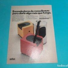 Coleccionismo Papel Varios: ENCENDEDOR MECHERO - BRAUN - PUBLICIDAD - 34 X 26 CM - RECORTE REVISTA - AÑO 1975 -. Lote 245105070