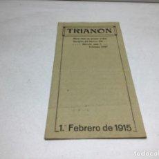 Coleccionismo Papel Varios: PROGRAMA 1915 - SALA TRIANON MUSIC-HALL DE BARCELONA. Lote 245708935