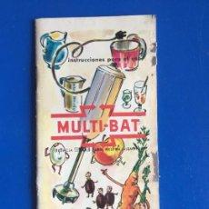 Coleccionismo Papel Varios: ANTIGUO FOLLETO INSTRUCCIONES PARA EL USO DE MULTI-BAT ESGE AÑOS 60-70. Lote 246552175
