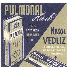 Coleccionismo Papel Varios: PULMONAL HIRCH / NASOL VEDLIZ - PUBLICIDAD. Lote 246622425