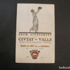 Collectionnisme Papier divers: VALLS-AJUNTAMENT DE LA CIUTAT-PROGRAMAS FESTES ANY 1921-VER FOTOS-(K-2069). Lote 248279855