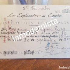 Coleccionismo Papel Varios: ANTIGUO RECIBO CONSEJO LOCAL BOY SCOUT EXPLORADORES DE ESPAÑA CARAVACA MURCIA 1917. Lote 248559870