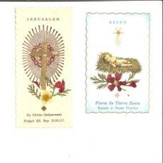 Coleccionismo Papel Varios: PAREJA DE TARJETAS RELIGIOSAS BELN Y JERUSALEM CON FLORES SECAS DE TIERRA SANTA. Lote 250146055