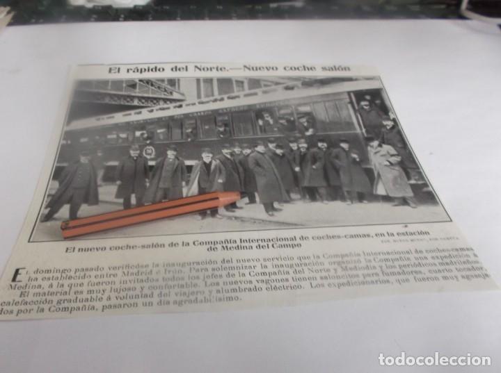 RECORTE PUBLICIDAD AÑO 1905 - MEDINA DEL CAMPO(VALLADOLID)TREN RÁPIDO DEL NORTE,NUEVO COCHE SALÓN (Coleccionismo en Papel - Varios)