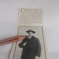 Coleccionismo Papel Varios: RECORTE AÑO 1905 - TEATRO PARISH ,EL TENOR JEREMIAS CERDÁ (MONOVAR -ALICANTE )EJERCIA COMO LABRADOR. Lote 251451840