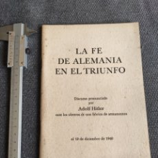 Coleccionismo Papel Varios: DISCURSO ADOLF HITLER 1940. Lote 251486610