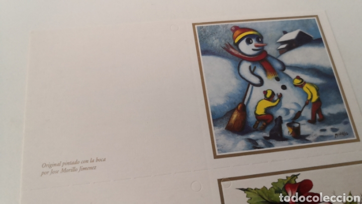 Coleccionismo Papel Varios: Postal con tres tarjetas pintado con la boca Navidad - Morillo Jiménez - Barbujani - Lorenzo Navarro - Foto 2 - 253416080
