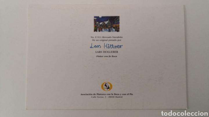 Coleccionismo Papel Varios: Díptico ilustrado por Lars Hollerer pintor con la boca - Mercado navideño Navidad - 115 x 172 mm - Foto 2 - 253416505