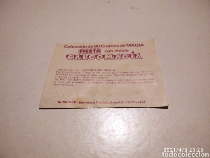 Coleccionismo Papel Varios: Cromo FIESTA con chicle calcomagia - Foto 2 - 253574835