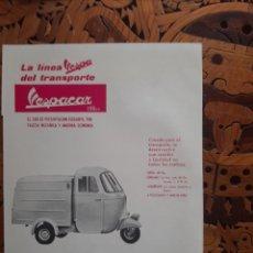 Altri oggetti di carta: PUBLICIDAD MOTOCARRO VESPACAR VESPA DE 1962. Lote 254412785