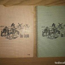 Coleccionismo Papel Varios: LOTE 2 ANTIGUAS LIBRETAS DON QUIJOTE. A CUADROS. ALGUNAS MANCHAS. 21X15,5CM. Lote 254422800