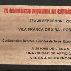 Coleccionismo Papel Varios: FOLLETO. IV CONGRESO MUNDIAL DE CIUDADES TAURINAS. 27 A 30 SPBRE 2001. (P/D51). Lote 254950225