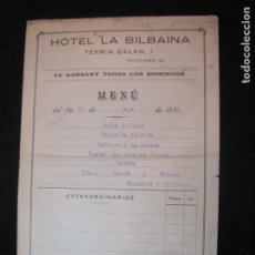 Coleccionismo Papel Varios: OURENSE-HOTEL LA BILBAINA-MENU ANTIGUO-AÑO 1935-VER FOTOS-(K-2354). Lote 255003170