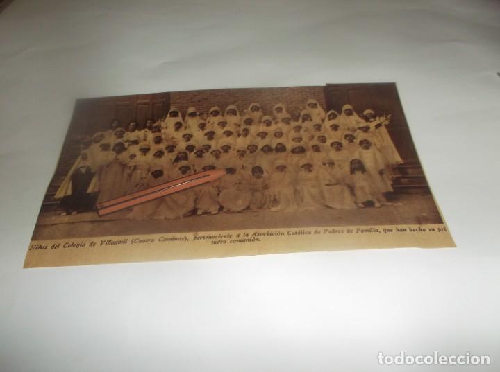 RECORTE AÑO 1931 - MADRID.- NIÑAS PRIMERA COMUNIÓN DEL COLEGIO DE VILLAAMIL(CATRO CAMINOS) (Coleccionismo en Papel - Varios)