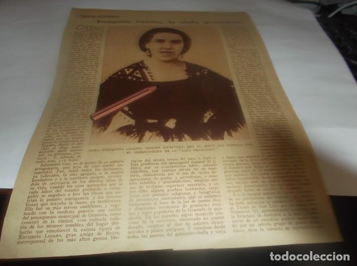 RECORTE AÑO 1931 - ENRIQUETA LOZANO , LA SAFO GRANADINA . POR C.G.ORTIZ DE VILLAJOS (Coleccionismo en Papel - Varios)