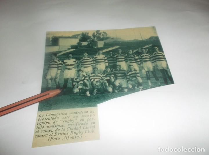 RECORTE AÑO 1931 - MADRID.- RUGBY.EN CIUDAD LINEAL,LA GIMNÁSTICA MADRILEÑA CONTRA BRITHIS RUGBY CLUB (Coleccionismo en Papel - Varios)