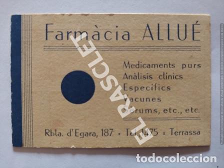 ANTIGÜA TARJETA FARMÀCIA ALLUÉ DE TERRASSA AÑOS 1940 (Coleccionismo en Papel - Varios)