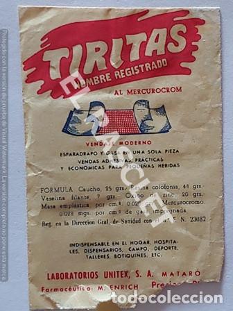 ANTIGÜO SOBRE DE TIRITAS LABORATORIOS UNITEX DE MATARO (Coleccionismo en Papel - Varios)