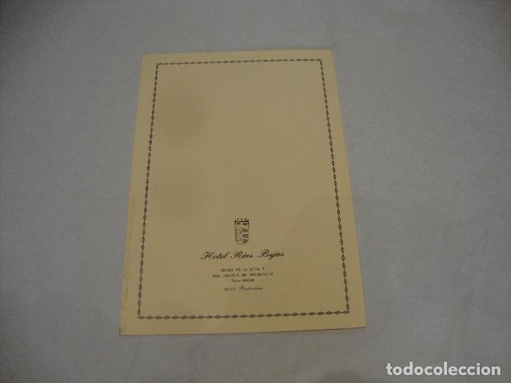 Coleccionismo Papel Varios: CARTA MENU HOTEL RIAS BAJAS PONTEVEDRA - Foto 3 - 255483790