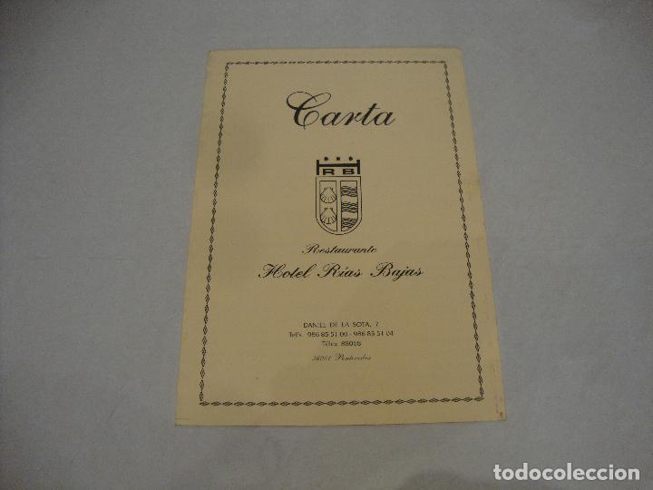 CARTA MENU HOTEL RIAS BAJAS PONTEVEDRA (Coleccionismo en Papel - Varios)