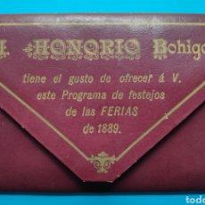 Coleccionismo Papel Varios: PROGRAMA FESTEJOS FERIAS SANTANDER 1889. Lote 255946285
