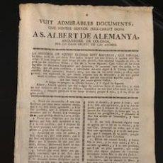 Coleccionismo Papel Varios: DOCUMENTOS DADOS A SAN ALBERTO DE ALEMANIA. S: XIX. Lote 255948035