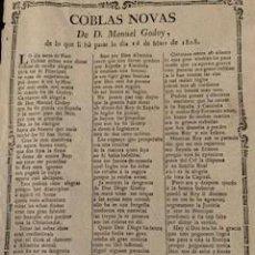 Coleccionismo Papel Varios: COBLAS NOVAS DE D. MANUEL GODOY. BARCELONA, 1808.. Lote 255948490