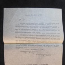 Coleccionismo Papel Varios: VALDEPEÑAS-CIRCULO VINICOLA MERCANTIL-ANUNCIO DE ASAMBLEA-AGOSTO DE 1925-VER FOTOS-(K-2419). Lote 257708600