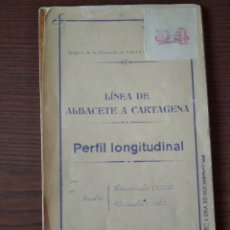 Coleccionismo Papel Varios: PERFIL LONGITUDINAL LÍNEA DE ALBACETE A CARTAGENA, 1926. Lote 260559105