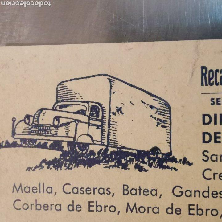 Coleccionismo Papel Varios: Targeta comercial, Recaderos Mercader y hermanos. Cornellà 1950s - Foto 2 - 261084890