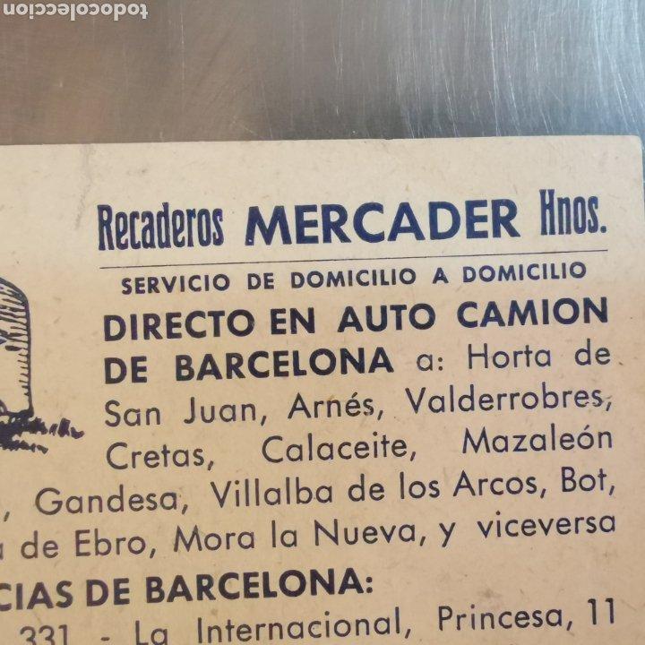 Coleccionismo Papel Varios: Targeta comercial, Recaderos Mercader y hermanos. Cornellà 1950s - Foto 3 - 261084890
