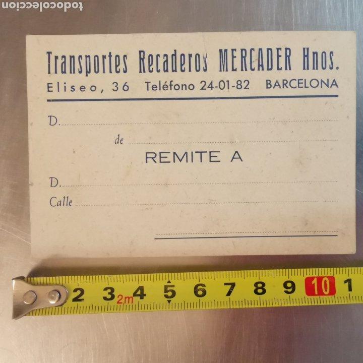 Coleccionismo Papel Varios: Targeta comercial, Recaderos Mercader y hermanos. Cornellà 1950s - Foto 4 - 261084890