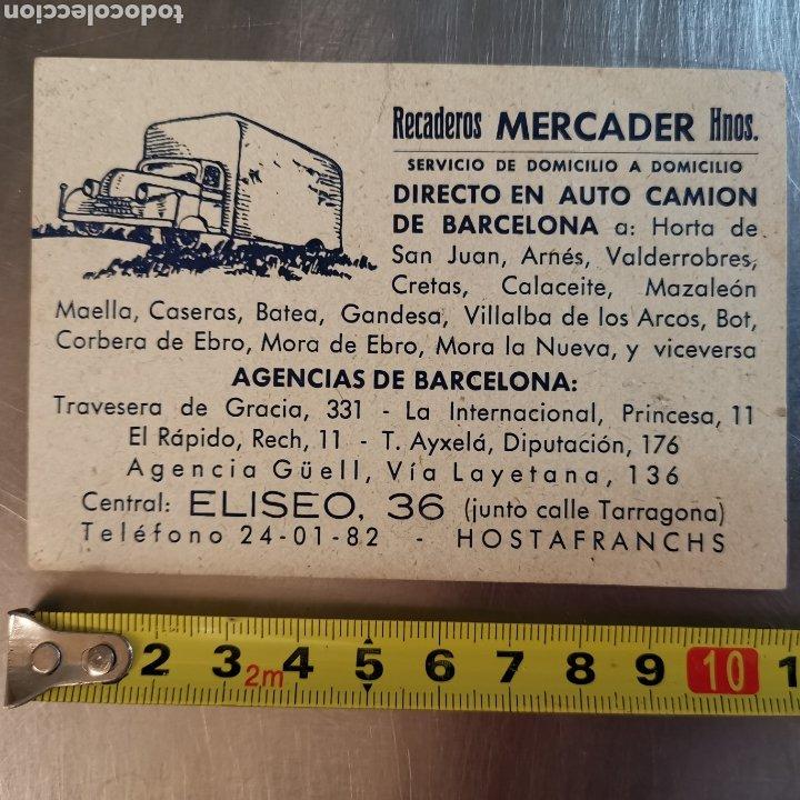 TARGETA COMERCIAL, RECADEROS MERCADER Y HERMANOS. CORNELLÀ 1950S (Coleccionismo en Papel - Varios)
