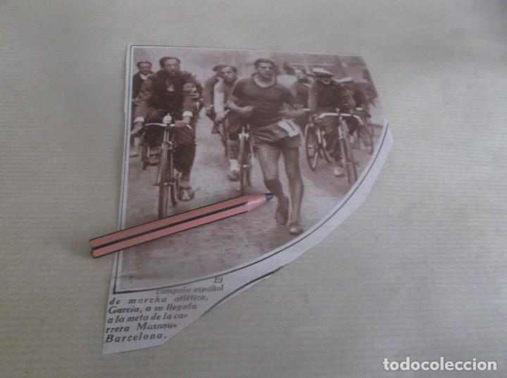RECORTE AÑO 1932(BARCELONA)EL CAMPEÓN ESPAÑOL MARCHA ATLÉTICA GARCIA LLEGA A META- MASNOU-BARCELONA (Coleccionismo en Papel - Varios)